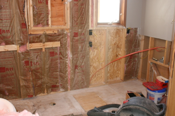 Shower, wall, tub removed
