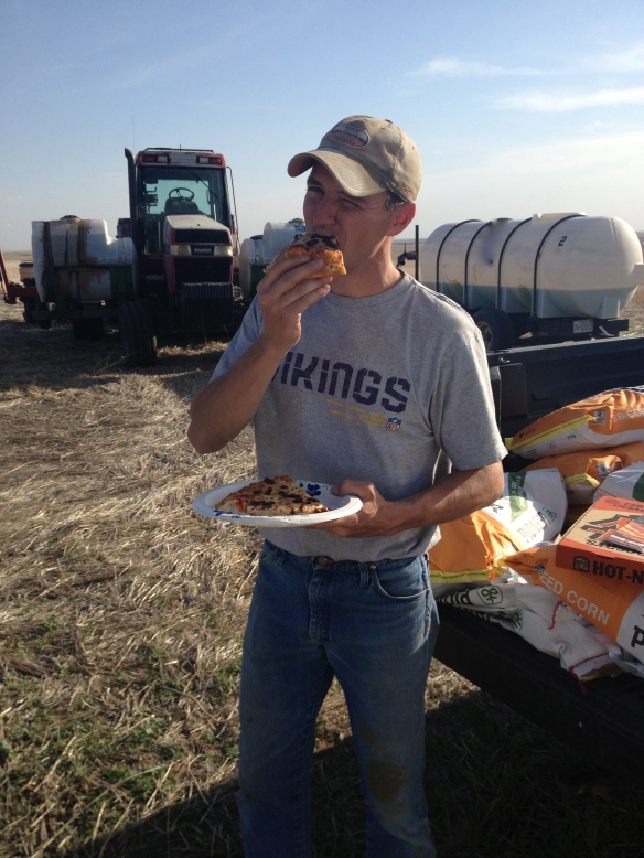 Pizza during corn planting