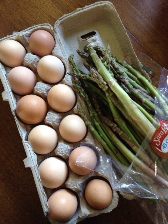 farm eggs and asparagus