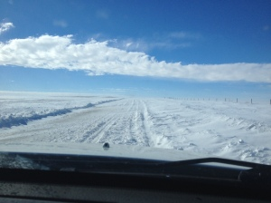 snow drifted road