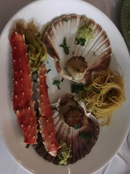 Scallops, King Crab, Pasta and Braise Leeks